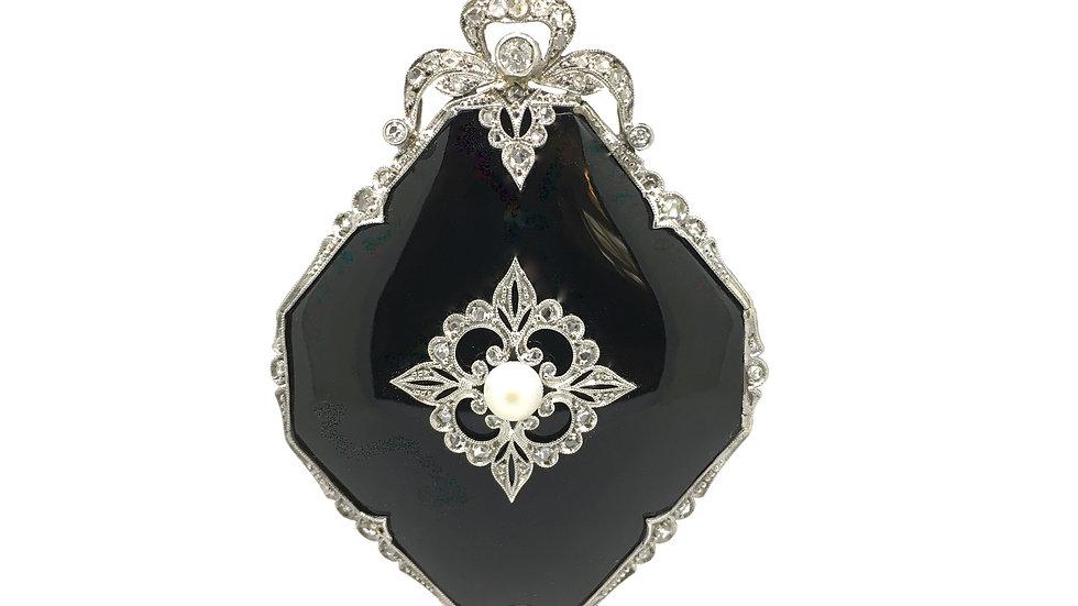Platina Art-Deco hanger met onyx en diamant, zeer fraai