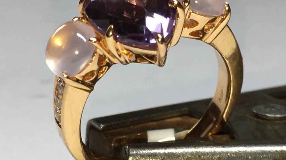 Exclusieve ring met maansteen en amethist, handwerk