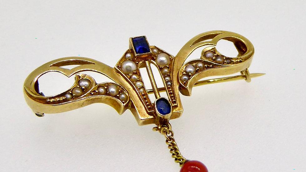 Prachtige Art Nouveau broche in geelgoud.