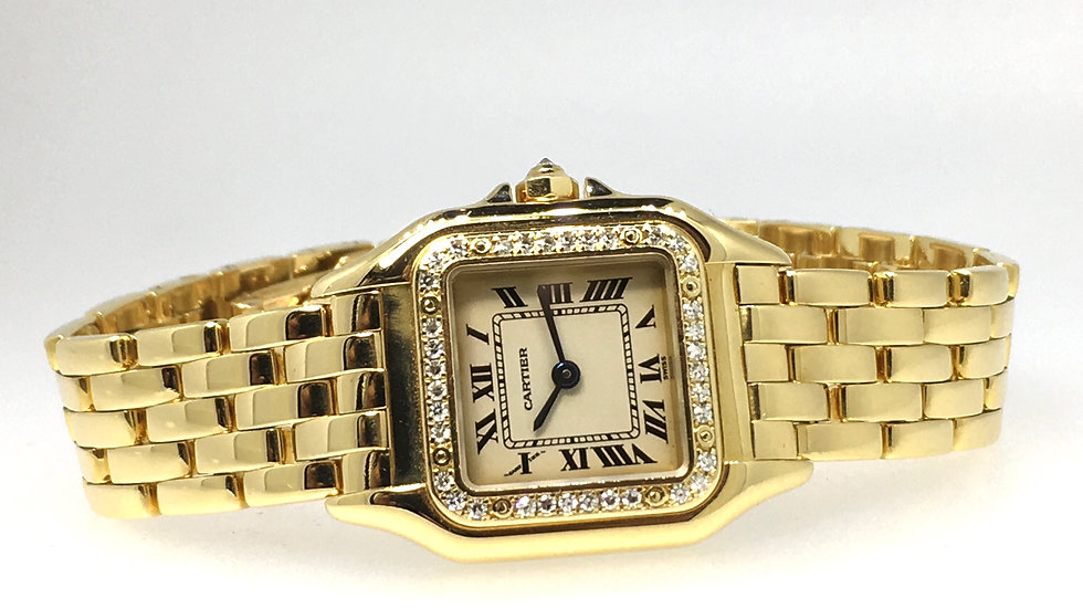 Cartier Panthère, 18 karaat geelgoud met band, briljant geslepen diamant.