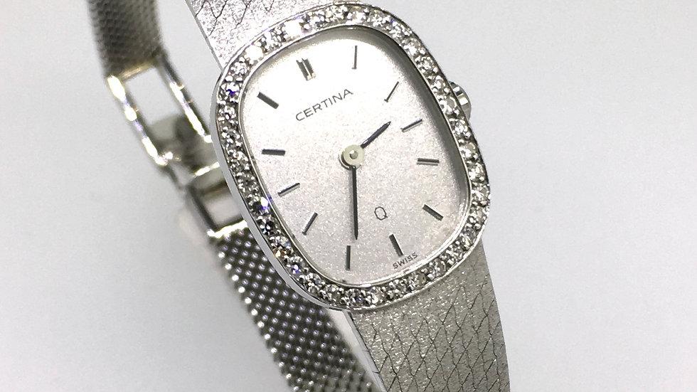 Certina Dames horloge, ca. 1983 Witgoud met diamant