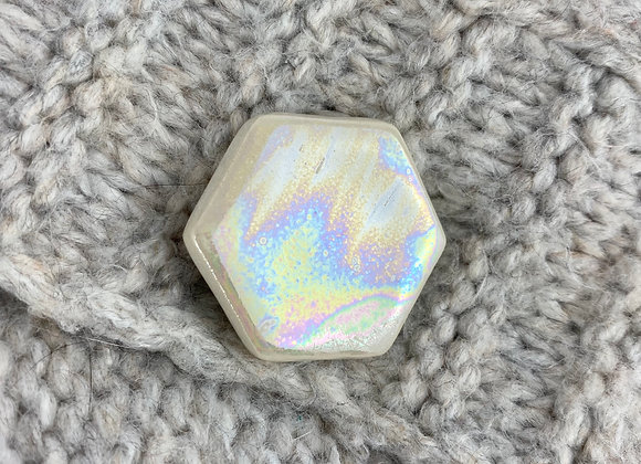 Small hexagon brooch in mother of pearl