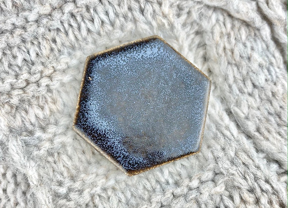 Large hexagon brooch in obsidian