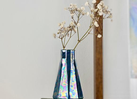 Geometric bud vase in teal