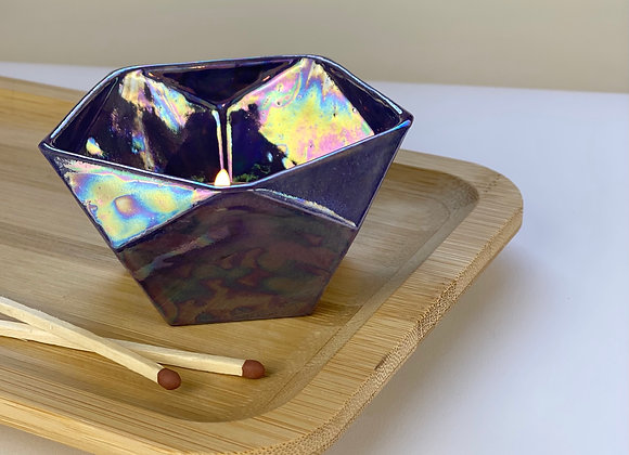 Dodecahedron candle holder in amethyst purple