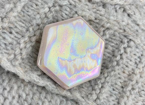 Large hexagon brooch in pink rose quartz