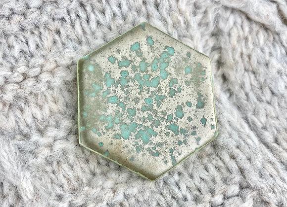 Large hexagon brooch in verdigris