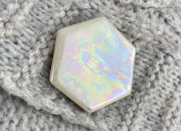Large hexagon brooch in mother of pearl