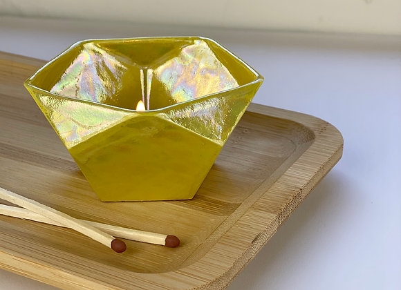 Dodecahedron candle holder in sunshine yellow