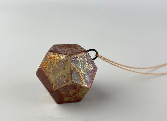 Dodecahedron pendant necklace copper