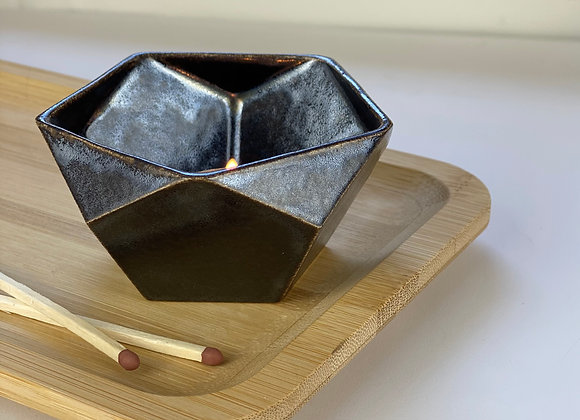 Tealight candle holder in obsidian