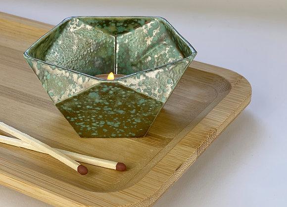 Tealight candle holder in verdigris