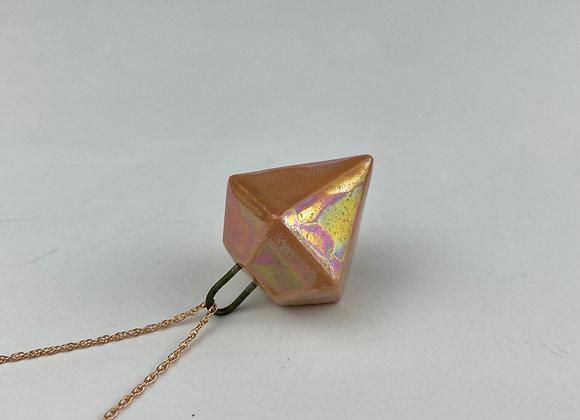 Diamond pendant necklace peach