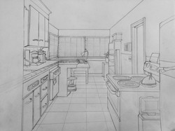 Kitchen in One-Point Perspective