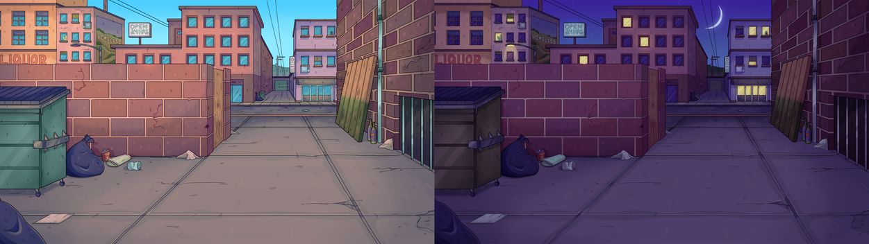 A cityscape background at different times of day created for The Odd 1s Out.