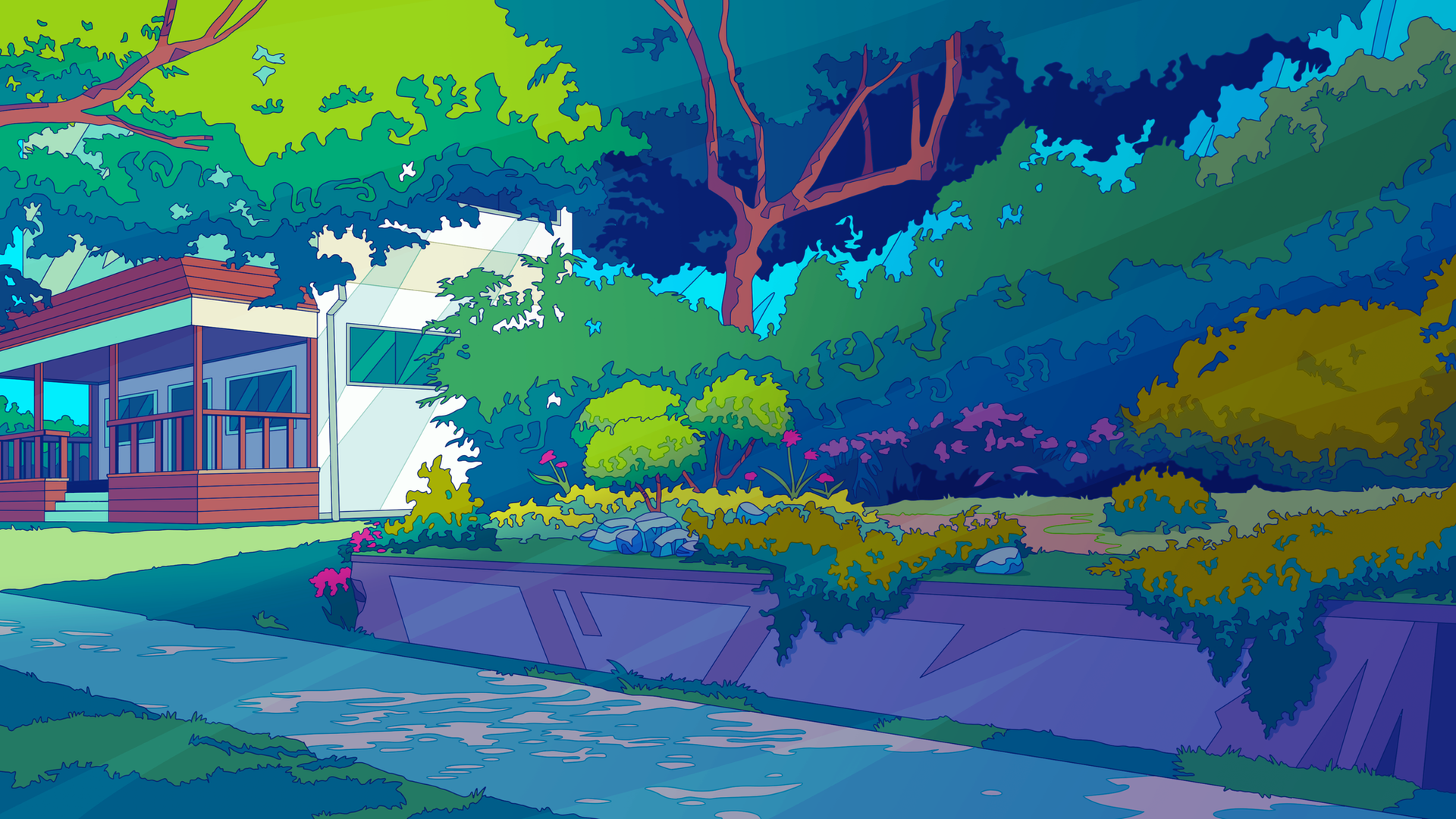 A personal background inspired by a neigborhood walk created in the style of Netflix's Great Pretender.