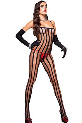 Black Sheer Striped burlesque sexy Bodystocking