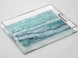 Mystic Stone Aqua Teal Acrylic Tray