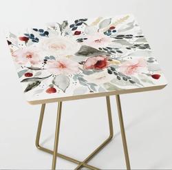 Watercolor Bouquet Side Table