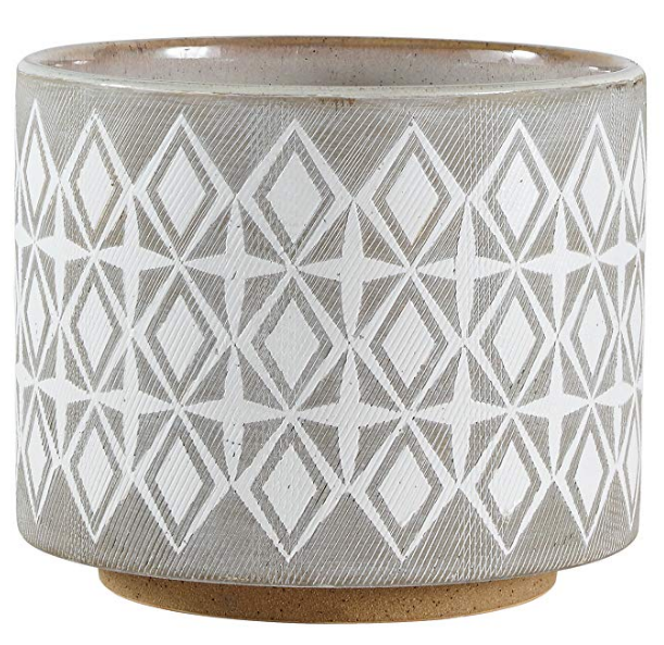 Gray Geometric Ceramic Planter