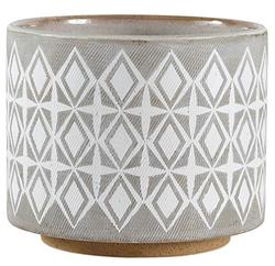 Gray Geometric Ceramic Planter
