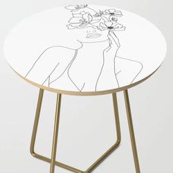 Minimal Line Art Woman Side Table