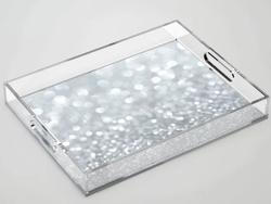 Silver Sparkle Acrylic Tray
