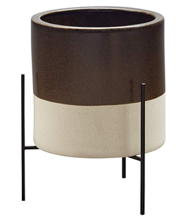 Brown Ceramic Planter and Stand