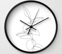 One line minimal plant Wall Clock