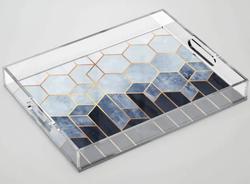 Soft Blue Hexagons Acrylic Tray