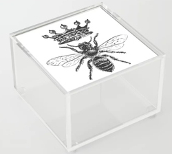Queen Bee Black and White Acrylic Box