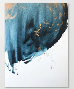 Sapphire and Gold Abstract Canvas Print.