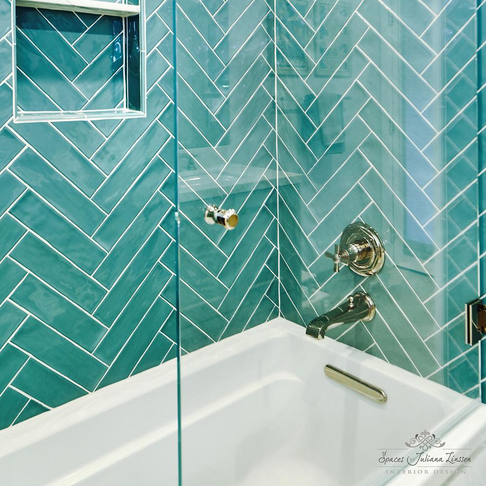 teal bath tile