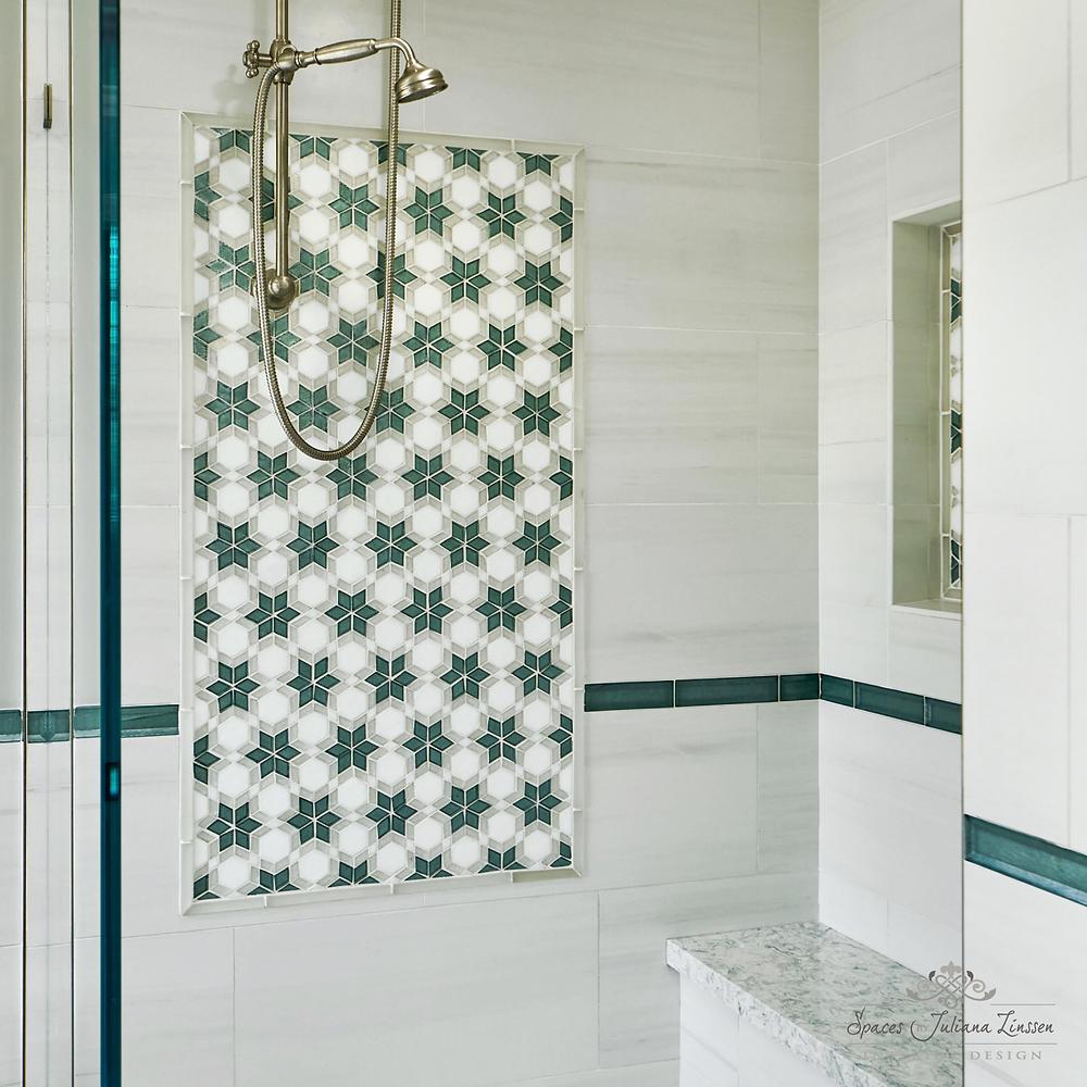teal shower tile