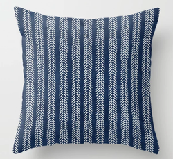 Mud cloth Navy Arrowheads Throw Pillow