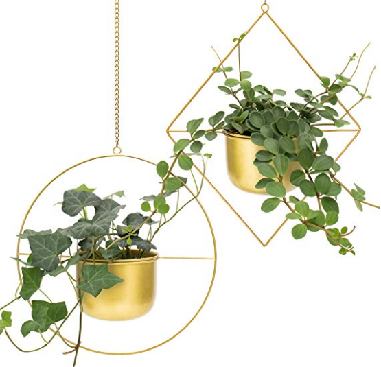 Gold Metal Hanging Plant Pot Set