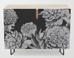 Flowers in Black and White Credenza