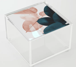 Blush & Blue Leaves Acrylic Box