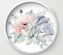 Pretty Succulents Wall Clock