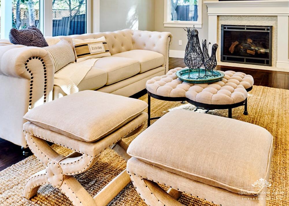 Upholstered stools living room