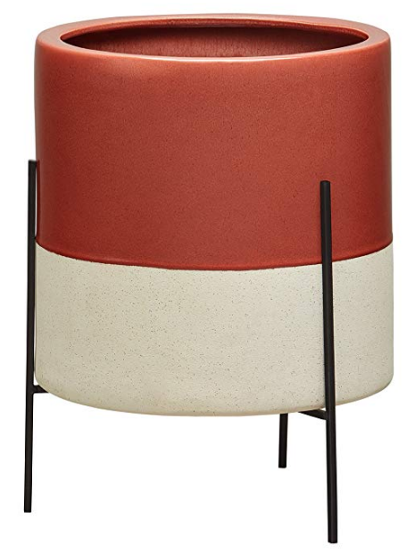 Red Ceramic Planter with Stand