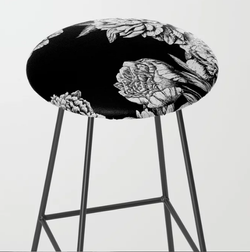 FLOWERS IN BLACK AND WHITE Bar Stool