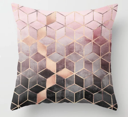 Pink And Grey Gradient Throw Pillow