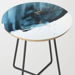 Sapphire and Gold Abstract Side Table