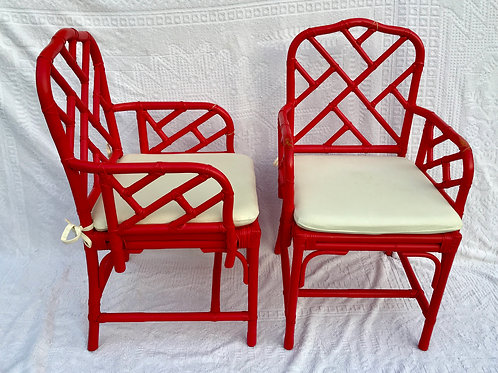 Bamboo Chair, pair, red
