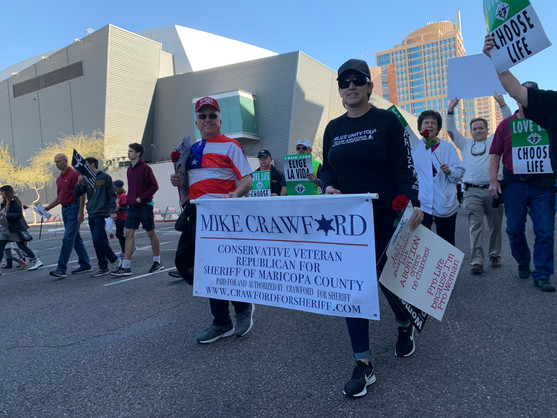 The Crawford for Sheriff team walking at the Pro-Life Rally