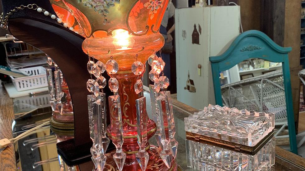 Cranberry Glass Antique Lamps Set of 2