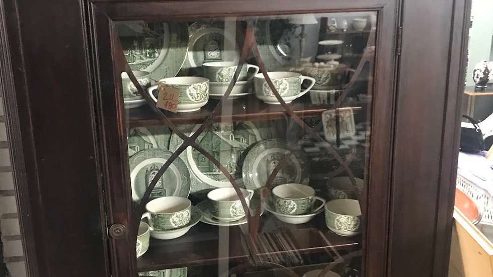 Antique China Cabinet with Old Curiosity China 70 pieces