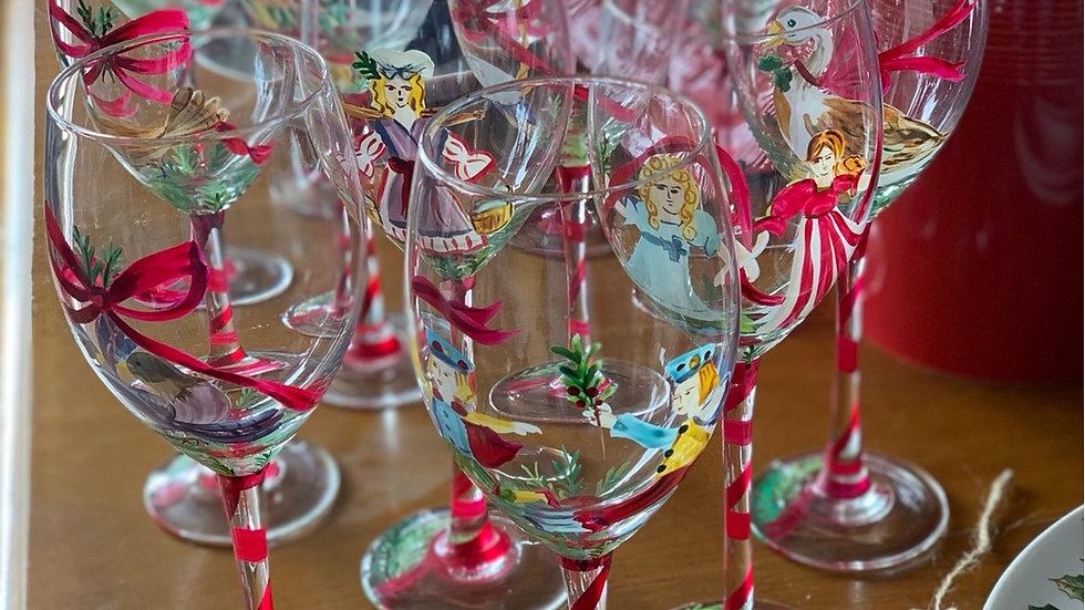 12 Days Of Christmas Wine Glassware