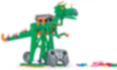 Moving Dinosaur robot built during a coding camp for kids.